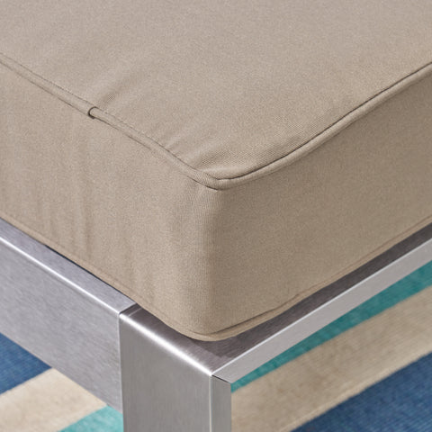 Aya Coral Cushioned Auminum Ottoman, Silver and Khaki