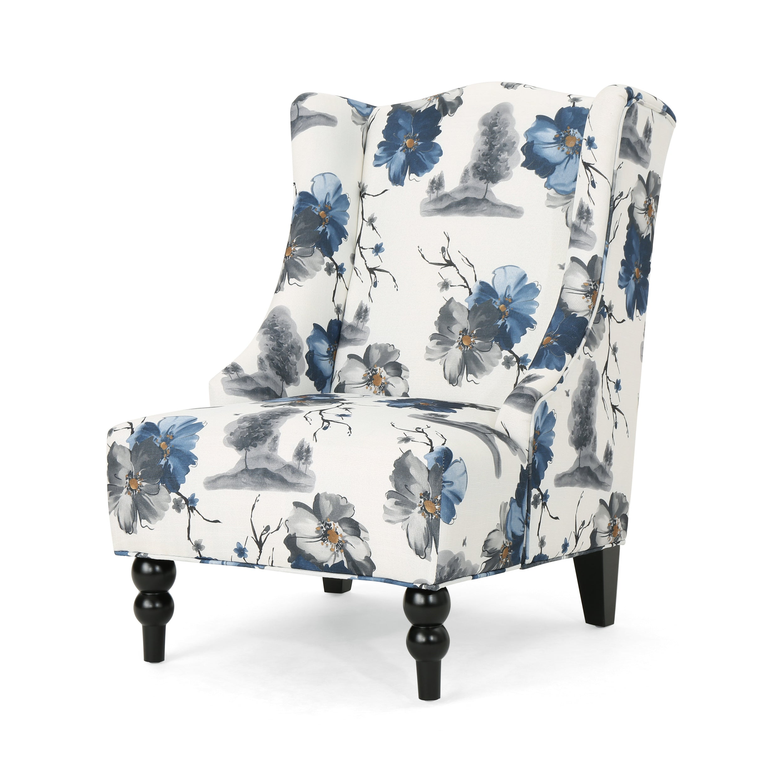 Alonso Wingback Fabric Club Chair Print