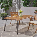 "Kama Patio Dining Table, Rectangular, 72"", Acacia Wood Table Top, Rustic Iron Hairpin Legs, Teak Finish"