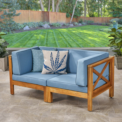 Brava Outdoor Modular Acacia Wood Loveseat with Cushions