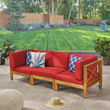 Brava Outdoor Modular Acacia Wood Sofa with Cushions