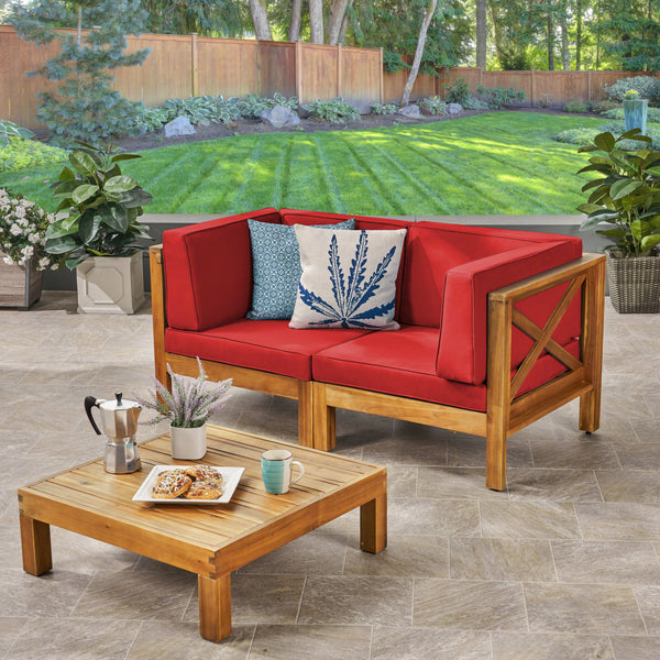 Brava Outdoor Modular Acacia Wood Sofa with Cushions and Coffee Table Set