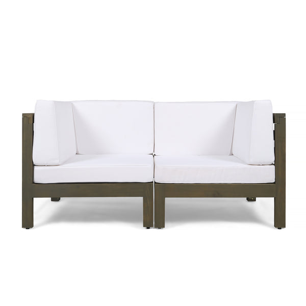 Great Deal Furniture Keith Outdoor Sectional Loveseat Set  2-Seater  Acacia Wood  Water-Resistant Cushions