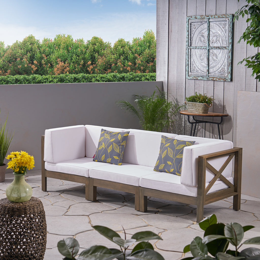 Keith Outdoor Sectional Sofa Set 3-Seater Acacia Wood Water-Resistant  Cushions
