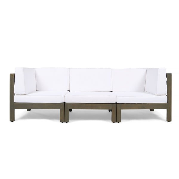 Great Deal Furniture Keith Outdoor Sectional Sofa Set  3-Seater  Acacia Wood  Water-Resistant Cushions