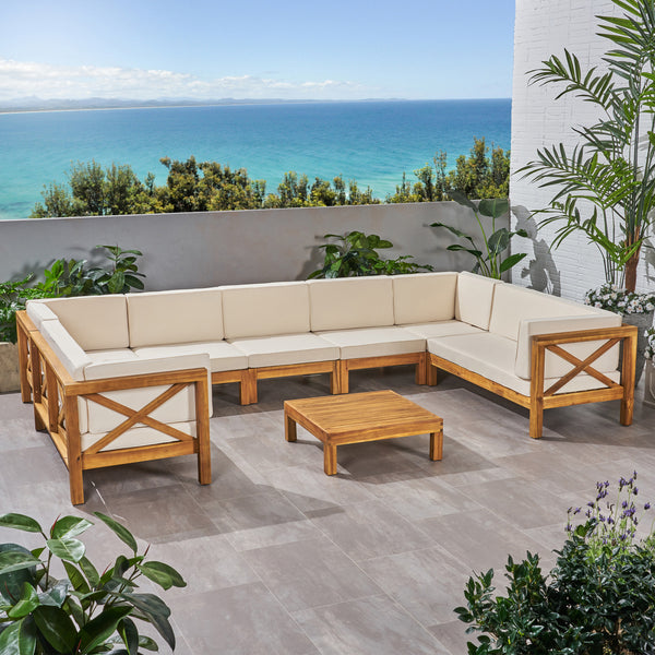 Isabella outdoor 9 seater acacia wood sectional sofa set for 9 seater sofa set