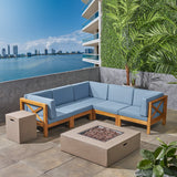 Cytheria Outdoor Sectional Sofa Set with Fire Pit 7-Piece 5-Seater Acacia Wood Water-Resistant Cushions Includes Tank Holder Teak with Blue and Light Gray
