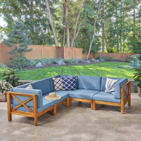 Brava Outdoor Acacia Wood 5 Seater Sectional Sofa Set with Water-Resistant Cushions