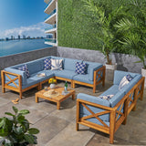 Cytheria Outdoor Sectional Sofa Set with Coffee Table | 9-Piece 8-Seater | Acacia Wood | Water-Resistant Cushions | Teak and Blue