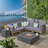 Kaylee Outdoor Sectional Sofa Set with Fire Pit  7-Piece 5-Seater  Acacia Wood  Water-Resistant Cushions  Includes Tank Holder  Gray and Dark Gray
