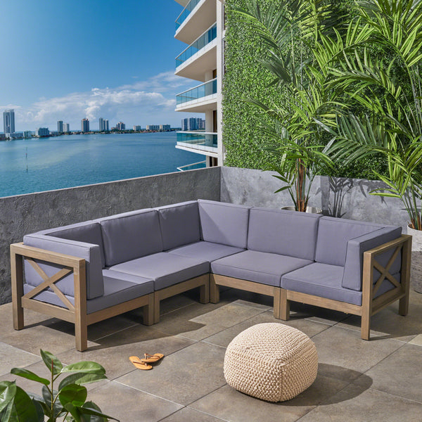 Great Deal Furniture Keith Outdoor Sectional Sofa Set  5-Piece 5-Seater  Acacia Wood  Water-Resistant Cushions
