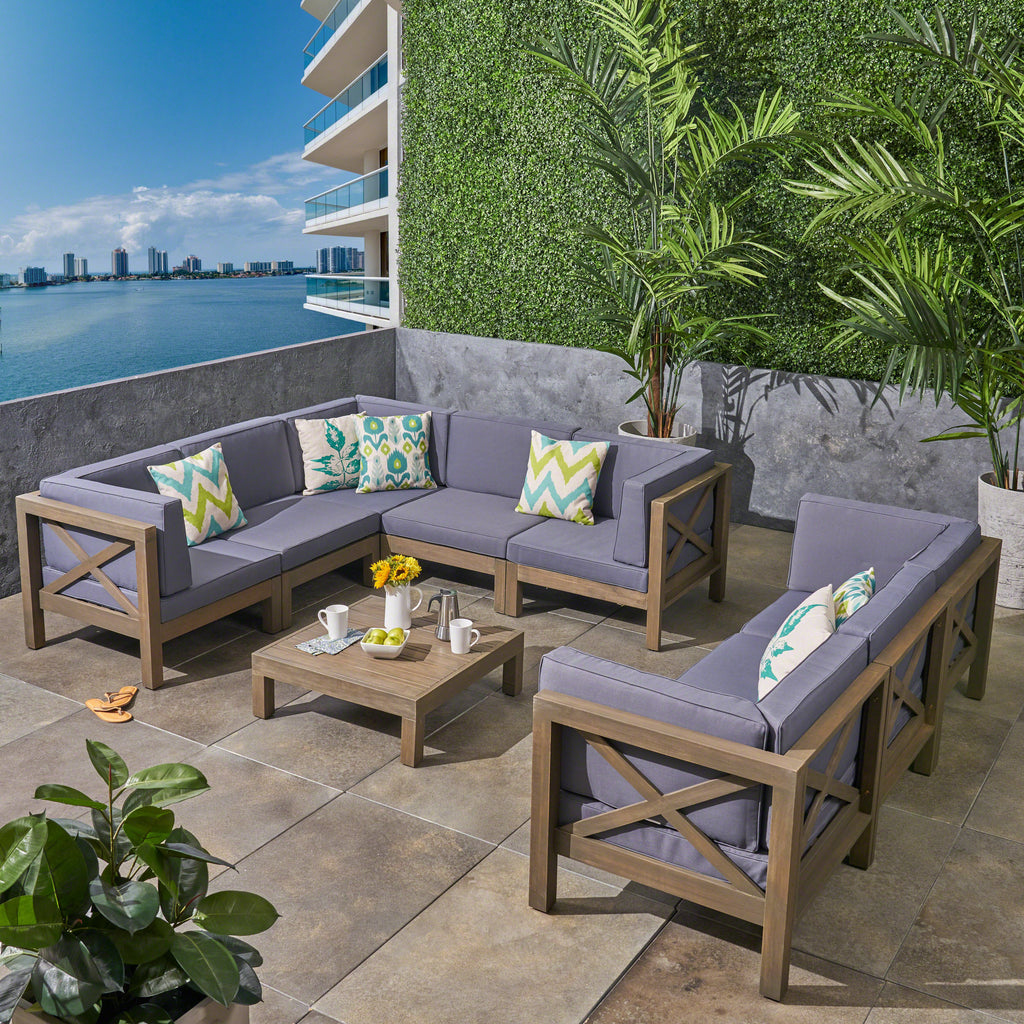 Remarkable Cytheria Outdoor Sectional Sofa Set With Coffee Table 9 Piece 8 Seater Acacia Wood Water Resistant Cushions Beatyapartments Chair Design Images Beatyapartmentscom