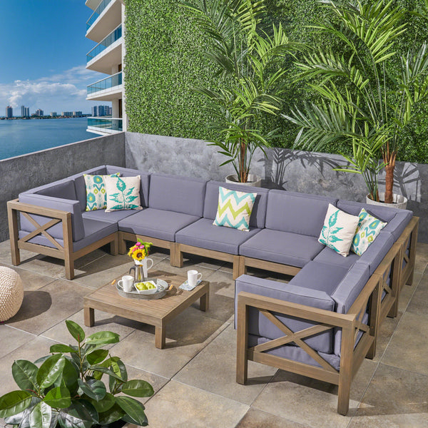 Great Deal Furniture Keith Outdoor Sectional Sofa Set with Coffee Table | 9-Piece 8-Seater | Acacia Wood | Water-Resistant Cushions | Gray and Dark Gray