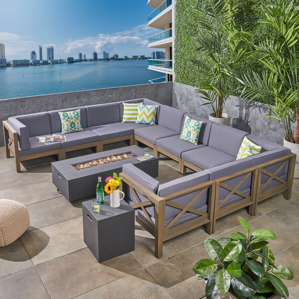Cytheria Outdoor Acacia Wood 10 Seater U-Shaped Sectional Sofa Set with  Fire Pit