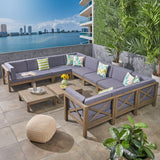 Cytheria Outdoor Sectional Sofa Set with Coffee Tables  12-Piece 10-Seater  Acacia Wood  Water-Resistant Cushions