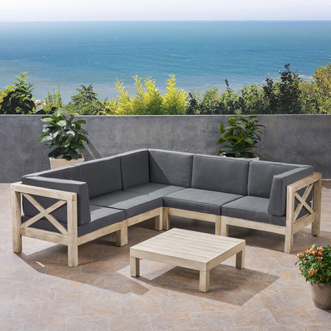 Brava Outdoor 5-Seater Gray Acacia Wood Sectional Sofa Set with Coffee Table
