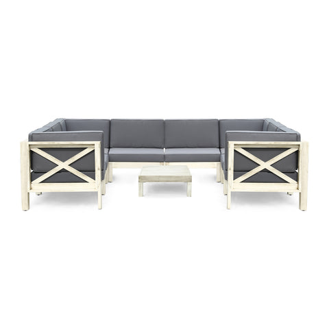Keith 9-Piece Outdoor Sectional Sofa Set with Coffee Table