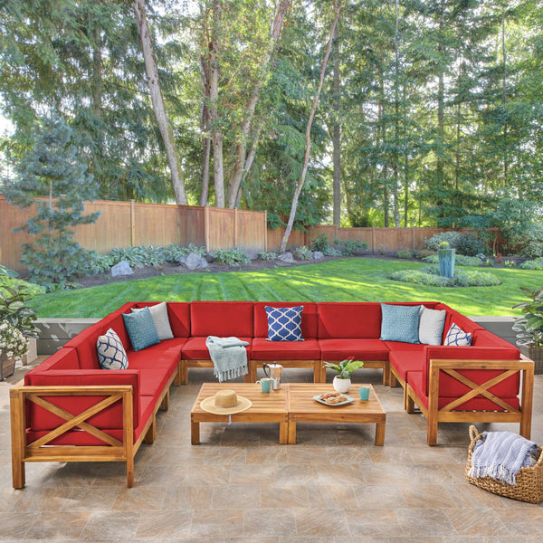 Great Deal Furniture Keith Outdoor Sectional Sofa Set with Coffee Table  9-Piece 8-Seater  Acacia Wood  Water-Resistant Cushions