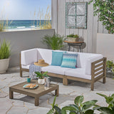 Great Deal Furniture Dawson Outdoor Sectional Sofa Set with Coffee Table - 4-Piece 3-Seater - Acacia Wood - Outdoor Cushions