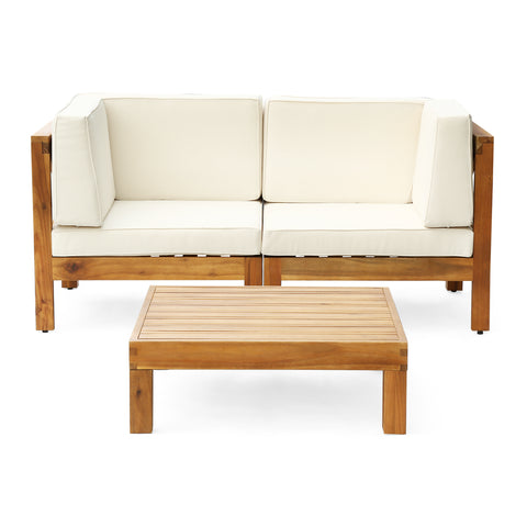 Oana Outdoor Modular Acacia Wood Loveseat and Table Set with Cushions