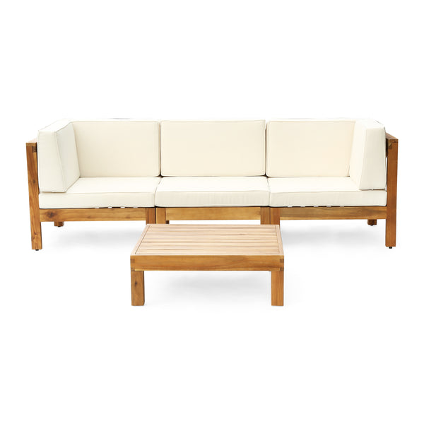 Oana Outdoor Modular Acacia Wood Sofa and Table Set with Cushions