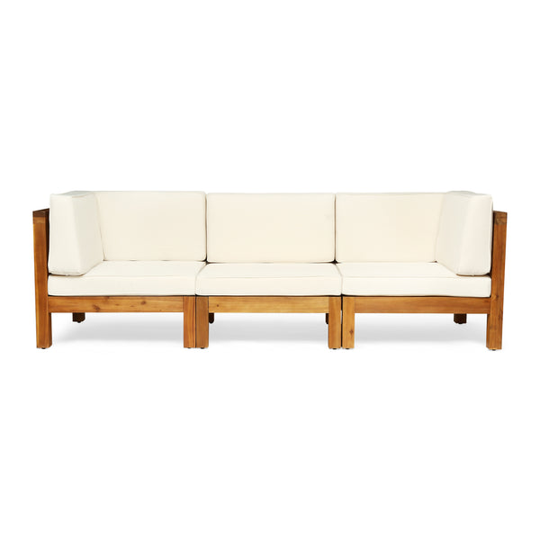 Dawson Outdoor Sectional Sofa Set - 3-Seater - Acacia Wood - Outdoor Cushions