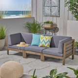 Great Deal Furniture Dawson Outdoor Sectional Sofa Set - 3-Seater - Acacia Wood - Outdoor Cushions