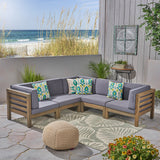 Great Deal Furniture Dawson Outdoor V-Shaped Sectional Sofa Set - 5-Seater - Acacia Wood - Outdoor Cushions