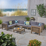 Great Deal Furniture Dawson Outdoor U-Shaped Sectional Sofa Set with Coffee Table - 9-Piece 8-Seater - Acacia Wood - Outdoor Cushions