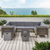 Kendry Outdoor Modern 8 Seater Acacia Wood Sectional Sofa Set with Fire Pit and Tank Holder