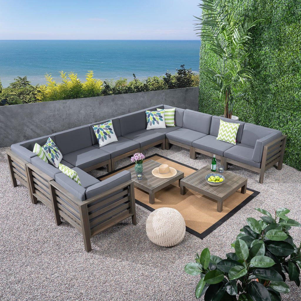 Ravello Outdoor U-Shaped Sectional Sofa Set with Coffee Tables