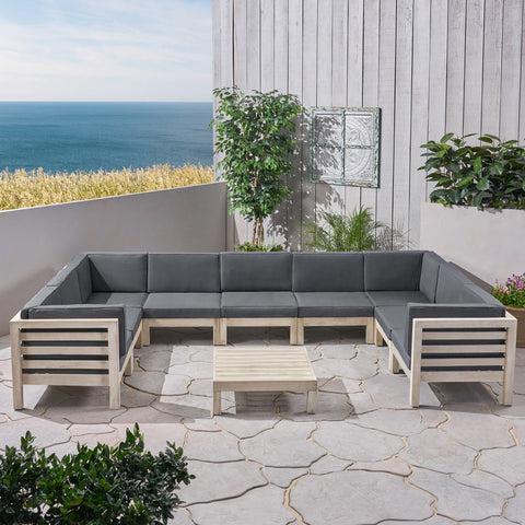 Ava Outdoor 9 Seater Acacia Wood Sectional Sofa Set, Weathered Gray Finish and Dark Gray
