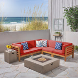 Ravello Outdoor V-Shaped Sectional Sofa Set with Fire Pit