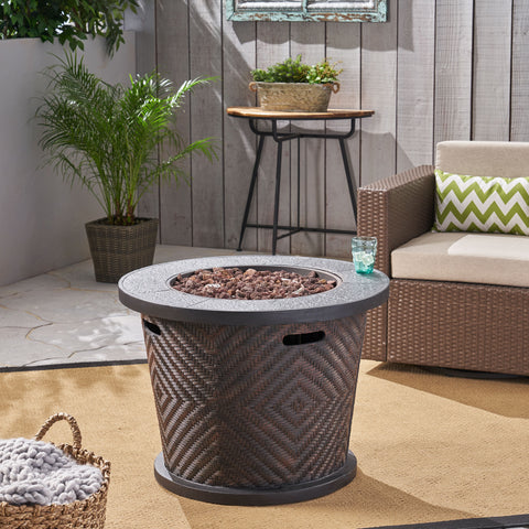 "Elizabeth Outdoor 32"" Circular Light Weight Concrete Fire Pit - 40,000 BTU, Brown"