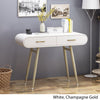 Nola Modern Faux Wood Vanity Table, White and Champagne Gold