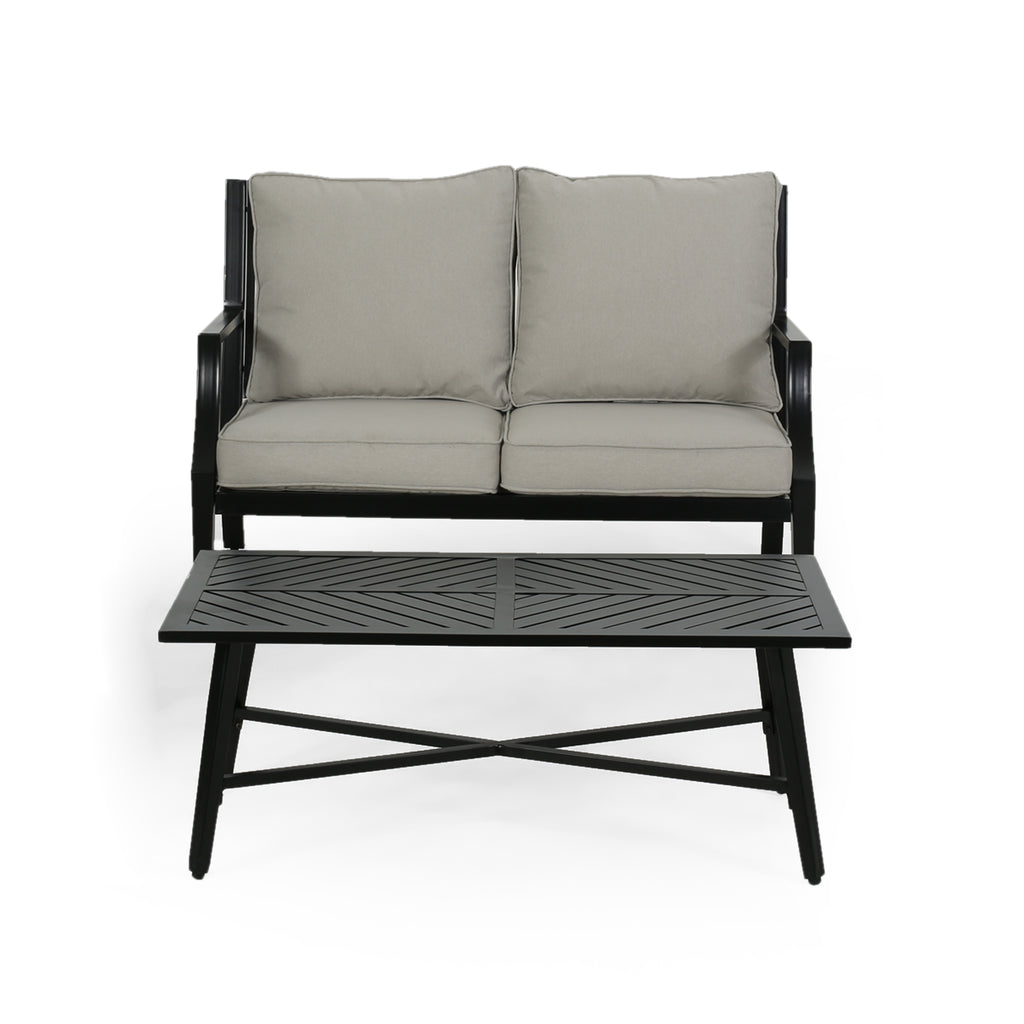 Terrific Belle Diego Outdoor Aluminum Loveseat And Coffee Table Set Alphanode Cool Chair Designs And Ideas Alphanodeonline
