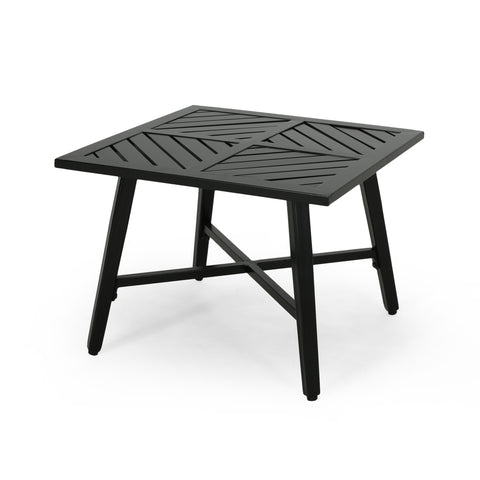Belle Diego Outdoor Aluminum Side Table, Matte Black