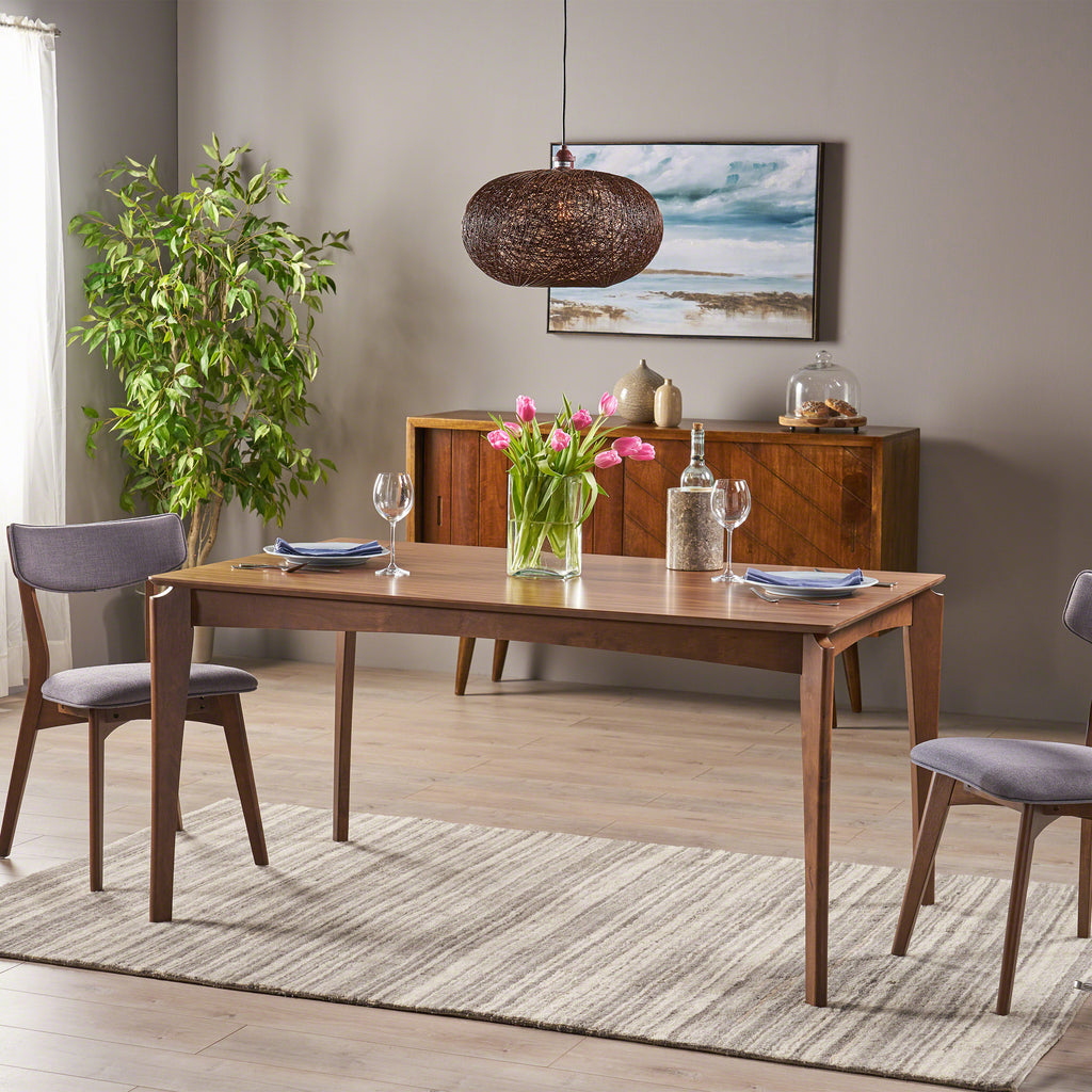 Domina Mid-Century 6-Seater Rubberwood Dining Table with Walnut Veneer Table Top