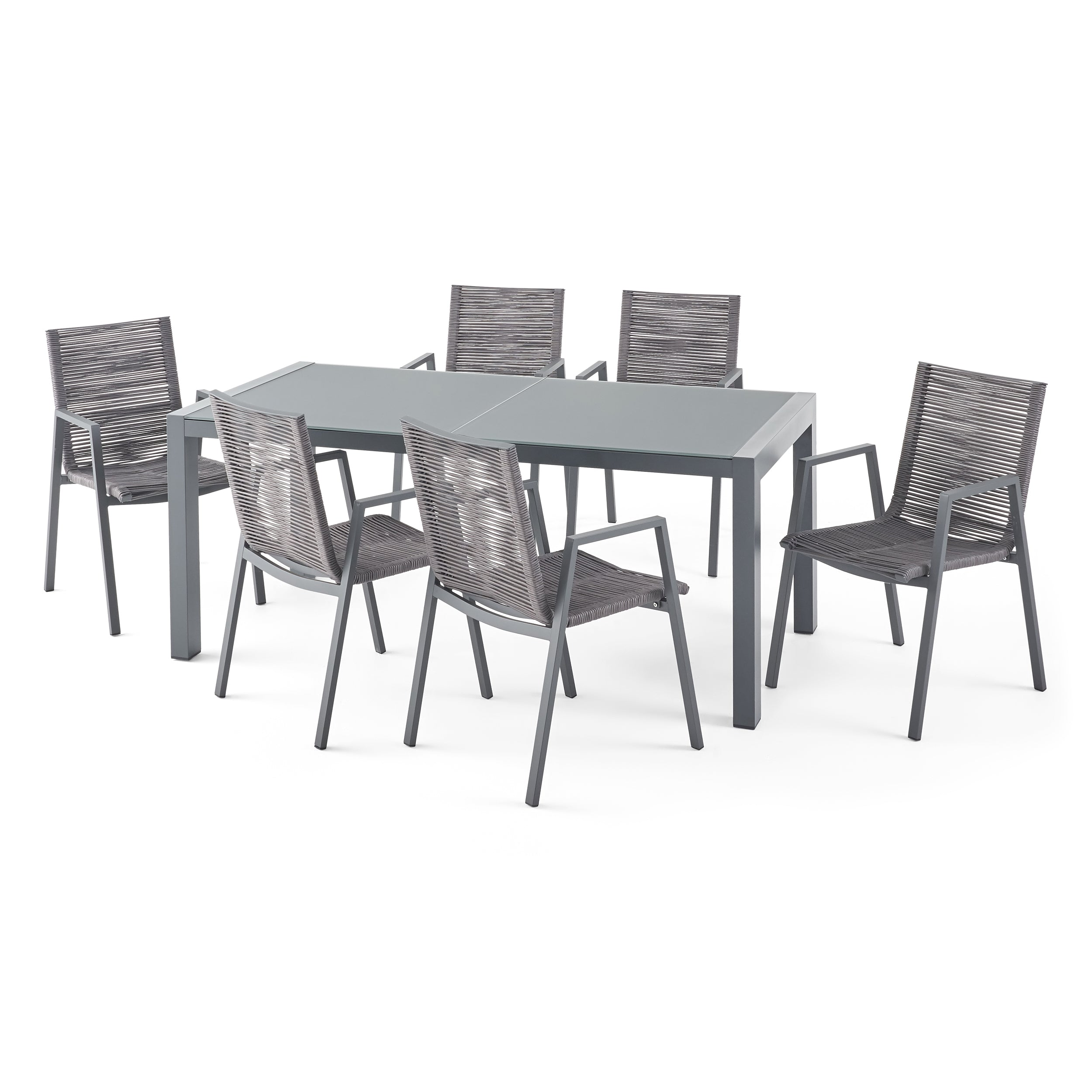 Amir Outdoor Modern 6 Seater Aluminum Dining Set with Tempered Glass Top GrayDark Gray