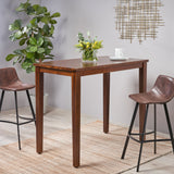 Taylo Contemporary Acacia Wood Bar Height Table