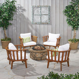 Khalel Outdoor Acacia Wood 4 Seater Club Chairs and Fire Pit Set