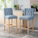 Zaydrian Button Tufted Fabric Wingback Bar Stool (Set of 2)