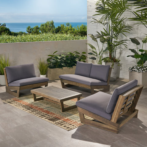 Beulah Outdoor 4 Seater Chat Set with Coffee Table