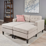 Grace Contemporary Fabric Chaise Daybed with Button Accents