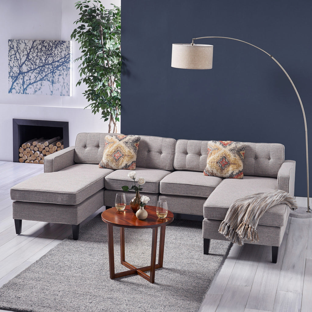 Grace Contemporary Fabric Chaise Sectional With Button Accents