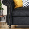 Vita Chesterfield Tufted Microfiber Sofa with Scroll Arms