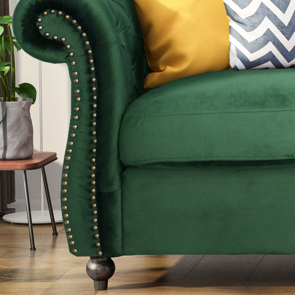 Picture of: Vita Chesterfield Tufted Microfiber Sofa With Scroll Arms Gdfstudio
