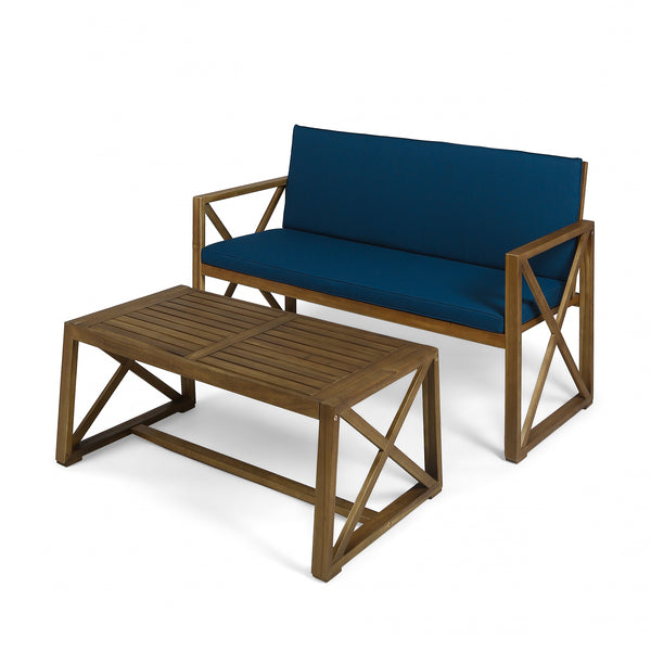 Hazel Outdoor Acacia Wood Loveseat with Coffee Table Set with Cushions