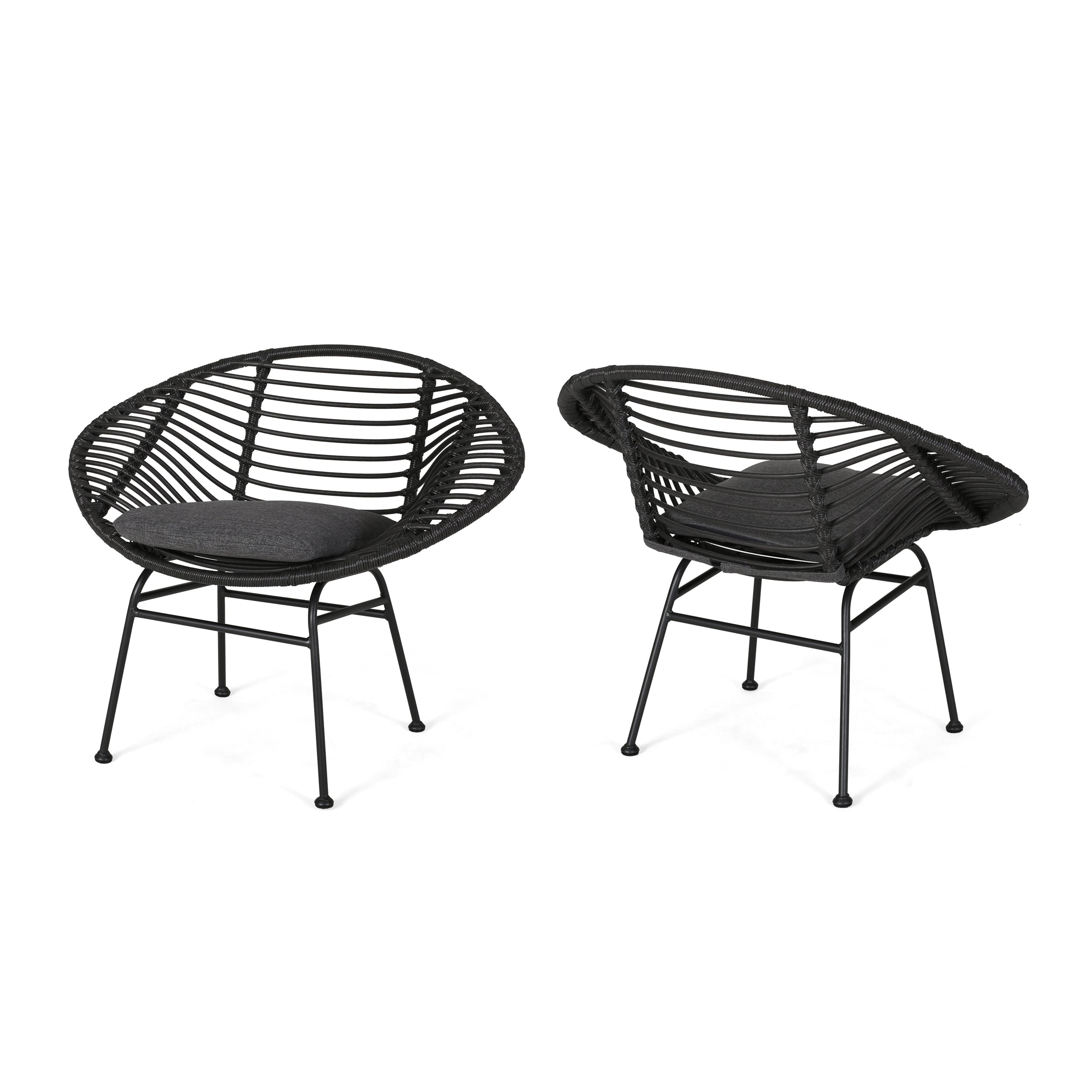 Aleah Outdoor Woven Faux Rattan Chairs with Cushions Set of 2 Gray Dark Gray