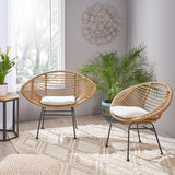 Aleah Indoor Woven Faux Rattan Chairs with Cushions (Set of 2)